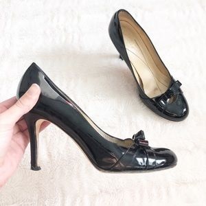 VINTAGE Kate Spate Patent Leather Retro Bow Pumps
